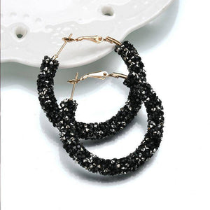 Fun-Tastic Crystal Bold Hoop Earrings for Women in Black, Iridescent Black, or Opalescent White