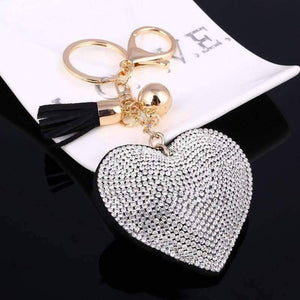 Puffed Heart Crystal Purse Charm Keychain - In Five Colors