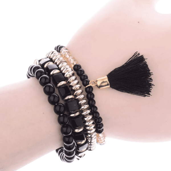Black Beaded Tassel Bracelet