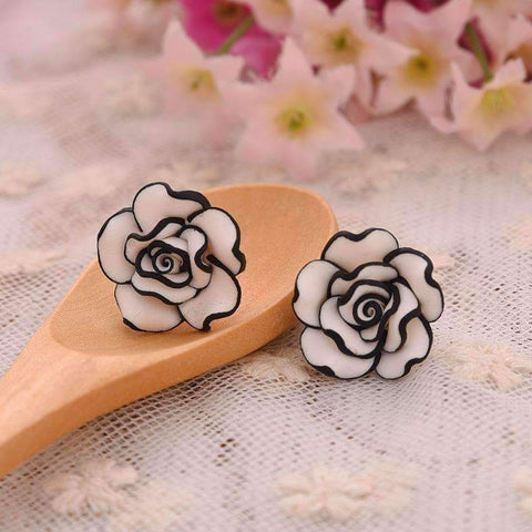 ON SALE - Black and White Rose Hand Crafted Clay Stud Earrings