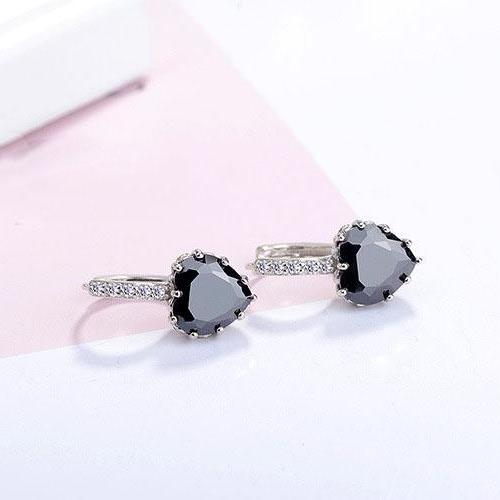 CLEARANCE - Heart Shaped Black Diamond CZ Solitaire Hoop Earrings