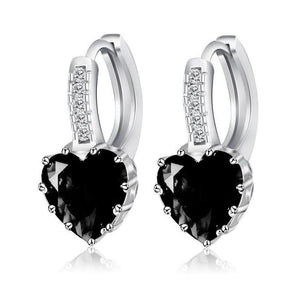 Heart Shaped Black Diamond CZ Solitaire Hoop Earrings For Woman