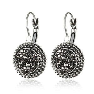 ON SALE - Black Crushed Crystals Lever Back Earrings