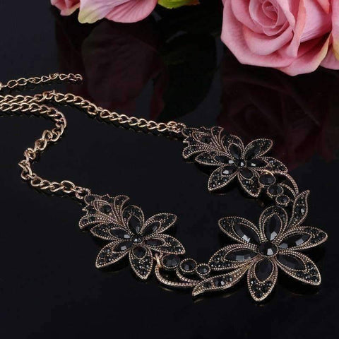 Garden Party Vintage Crystal Flower Necklace
