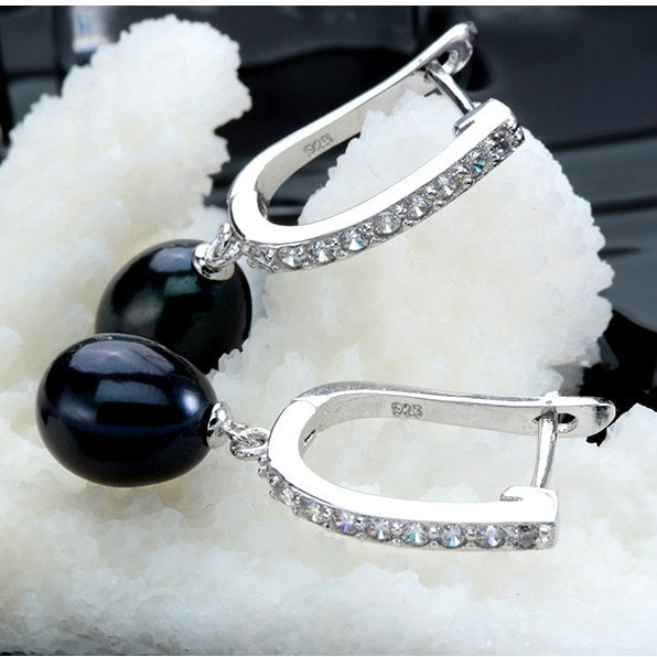 ON SALE - Tropical Black Freshwater Pearl CZ Drop Earrings
