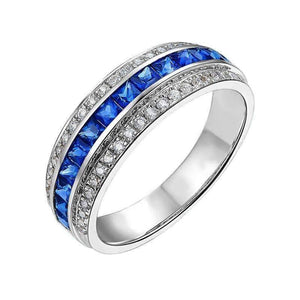 ON SALE - Dyanah En Bleu 1.32CTW Channel Set Princess and Pavé Band IOBI Simulated Diamond Ring