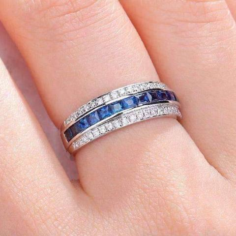 Dyanah En Bleu 1.32CTW Channel Set Princess and Pavé Band IOBI Cultured Diamond Ring