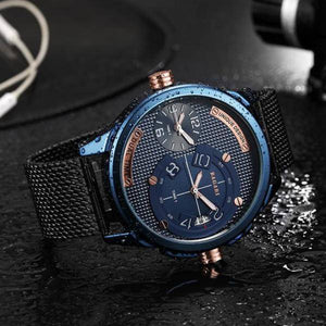 Dual Time Water Resistant Stainless Steel Wrist Watch