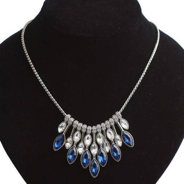 Sapphire Falls Blue Cocktail Necklace