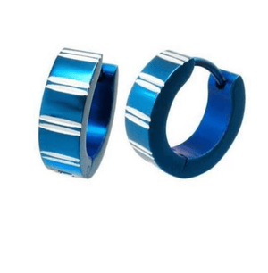 Diamond Cut Blue Stainless Steel Huggie Hoop Earrings - For Men or Women