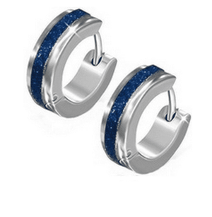 Blue Frosted Huggie Hoop Stainless Steel Earrings - For Men or Women