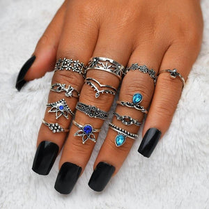 Bounty of Bands Boho Midi-Knuckle Rings Set of 13