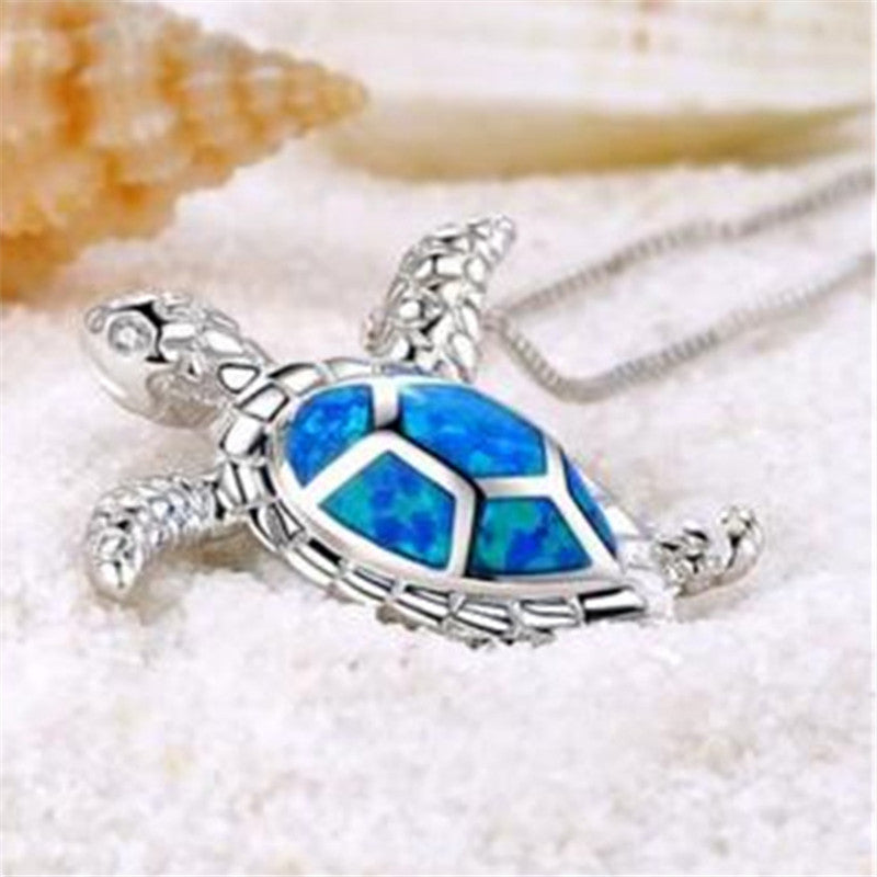 14K White Gold Plated Deep Blue Sea Turtle Enamel Pendant Necklace For Woman
