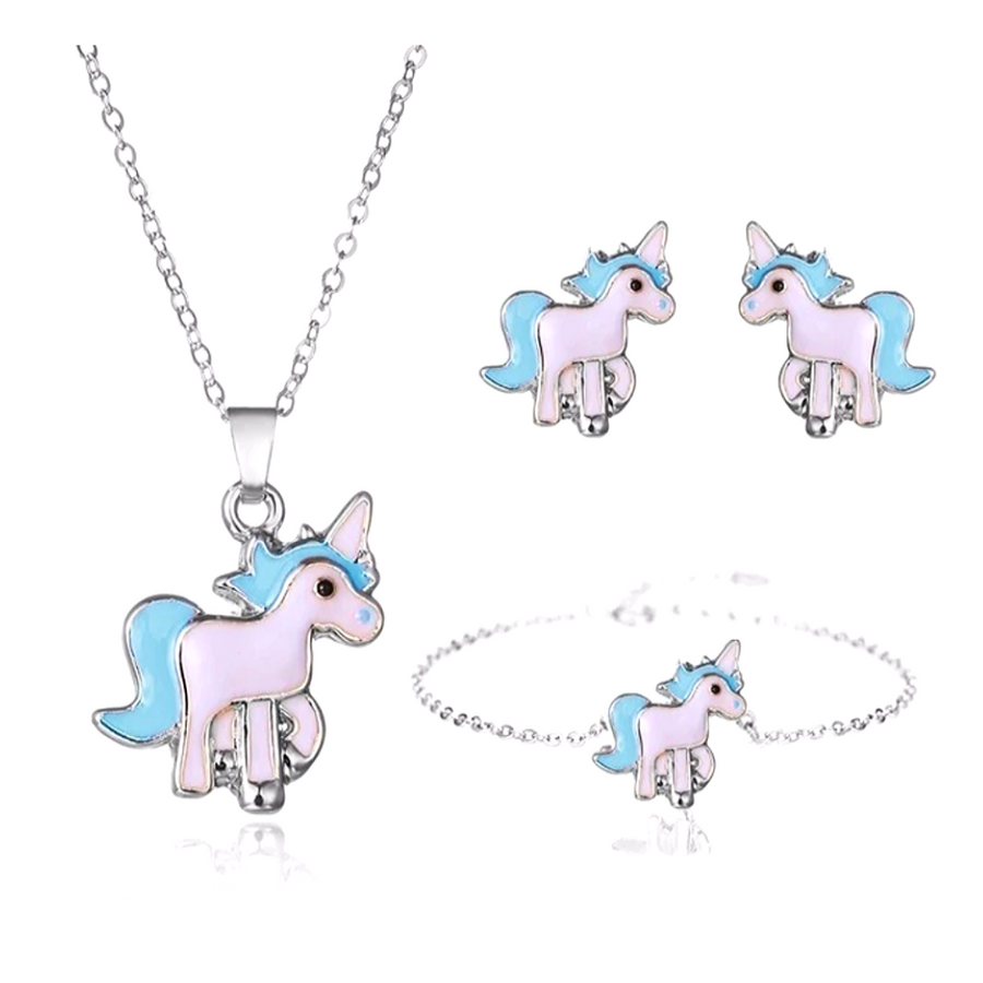 Unicorn Jewelry For Girls 4PC Set Of Necklace, Bracelet And Earrings