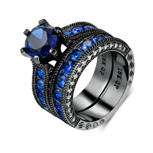 Blue Evening CZ Solitaire Black Gold Engagement Ring Set For Woman