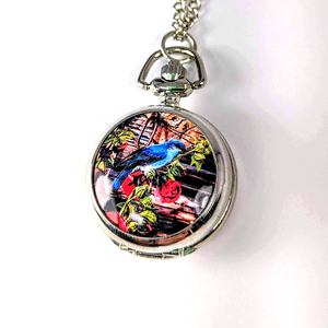 Bluebird Enamel Mini Pocket Watch Necklace