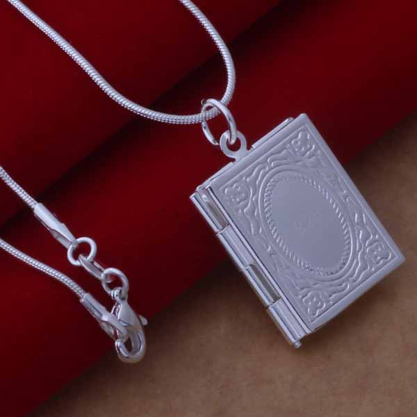 Memories  Silver Book Locket Necklace
