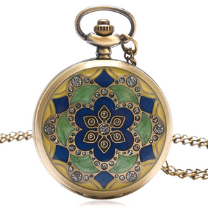 Flower Vintage Style Antique Bronze Pocket Watch Necklace