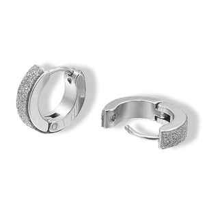 Sandblasted Huggie Hoop Stainless Steel Earrings - For Men or Women