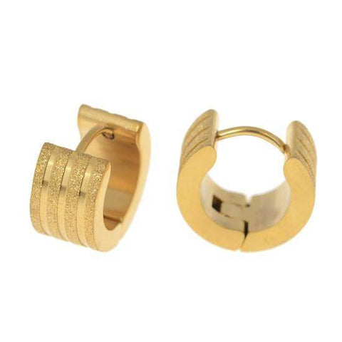 Brushed Stripes Gold Huggie Hoop Stainless Steel Earrings - For Men or Women