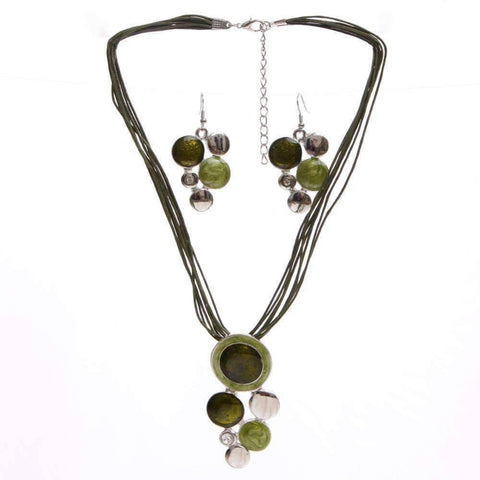Glossy Enamel Circles Necklace and Earrings Set - In Four Colors