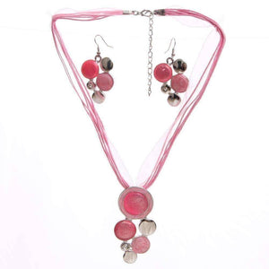 ON SALE - Glossy Enamel Circles Necklace and Earrings Set - In Four Colors