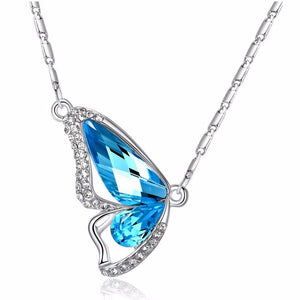 Wondrous Wings Crystal Butterfly Necklace ~ In Ten Colors