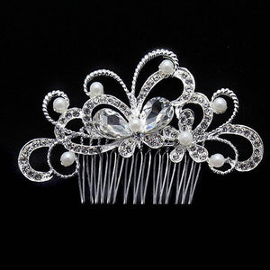 Crystal Butterfly Garden Silver Plated Hair Comb