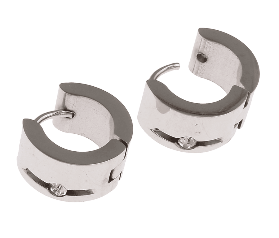 CZ in Stainless Steel Huggie Hoop Earrings - For Men or Women