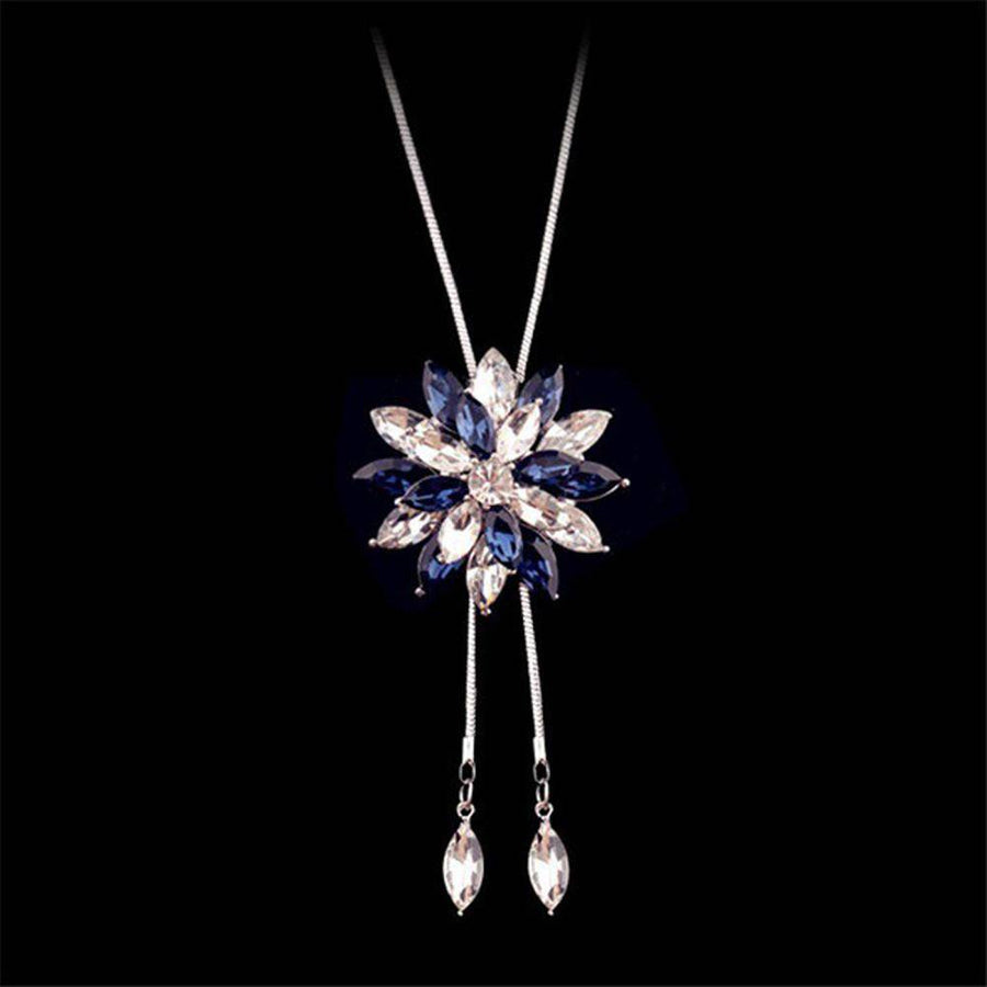 Sparkling Statement Austrian Crystal 14K White Gold Plated Lariat Necklace for Woman