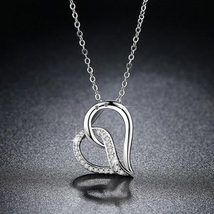 Sentimental Heart CZ Pendant Necklace