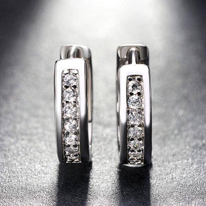 Diamond Sparkle CZ Huggie Hoop Earrings
