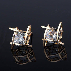 Captured Crystals Square Earrings