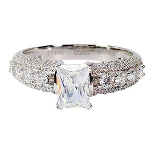 Camilla 1CT Emerald Cut Petite Pavé and Migraine Simulated Diamond Ring