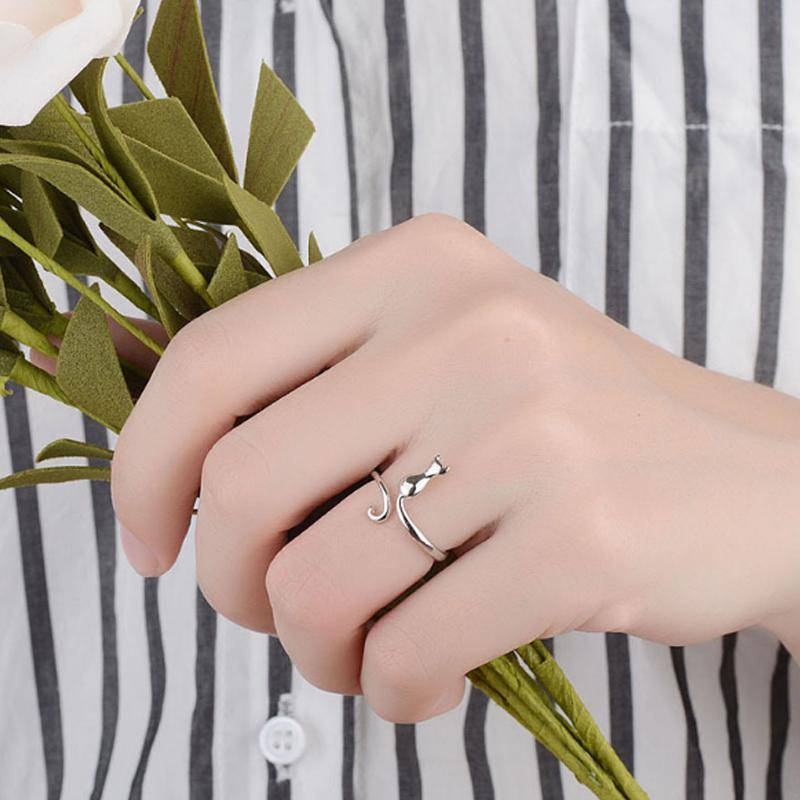 Kitty Silhouette Adjustable Animal Wrap Ring