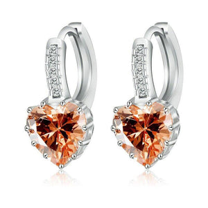 Heart Shaped Champagne Diamond CZ Solitaire Hoop Earrings For Woman