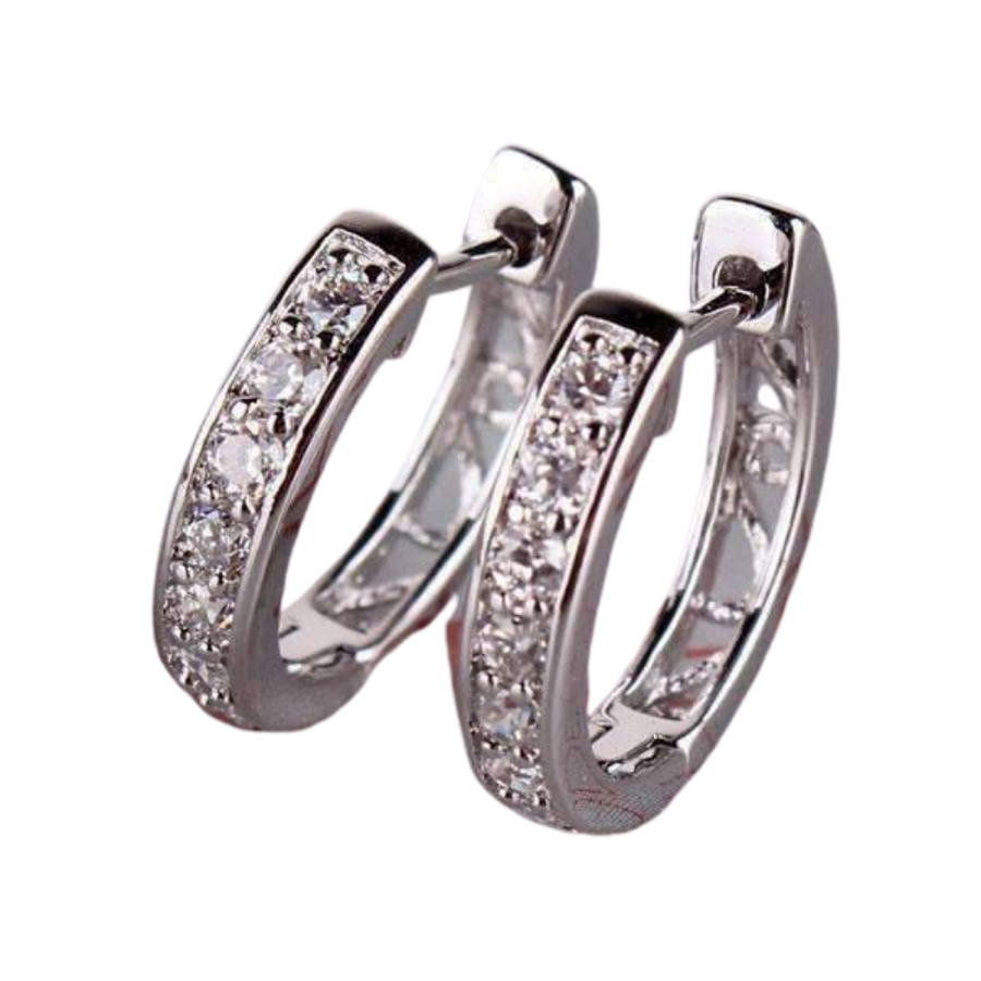 18K Gold Plated Channel Set Sparkly CZ Diamond Petite Hoop Earrings For Woman