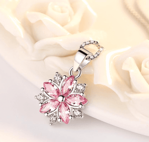 Cherry Blossoms Cubic Zirconia Necklace