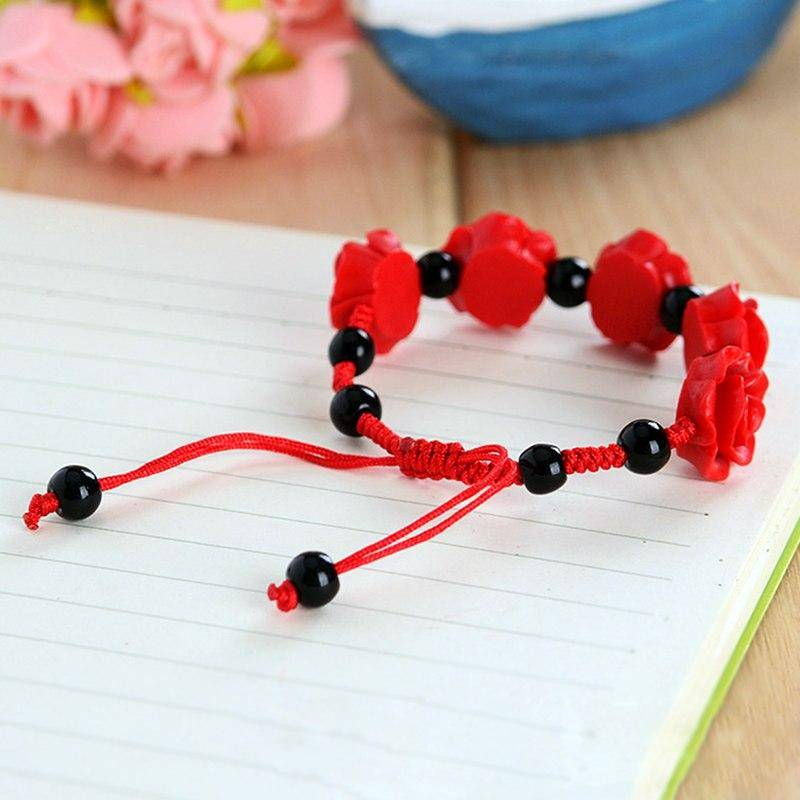 Cinnabar Rose Beaded Bracelet
