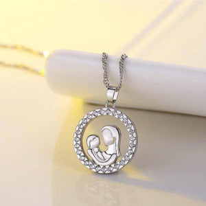 Circle of Love Mother & Child CZ Necklace