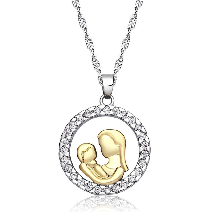 ON SALE - Circle of Love Mother & Child CZ Necklace
