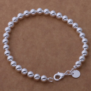 Classic 6mm Beads Silver Bracelet for Women all-day wear Perfect for any occasion