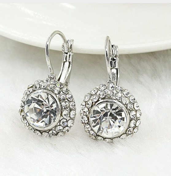 Crystal Clear on White Gold Bezel Set IOBI Crystals Earrings