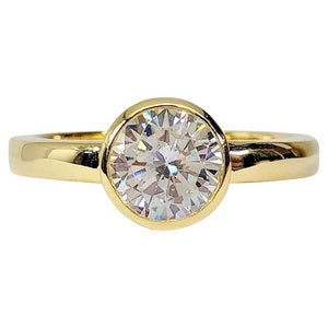 Coco D'ora 1.25CT Round Bezel Set IOBI Simulated Diamond Solitaire 18K Gold over Sterling Silver Ring for Women