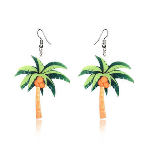 Tropical Vibe Coconut Palm Tree Earrings For Woman