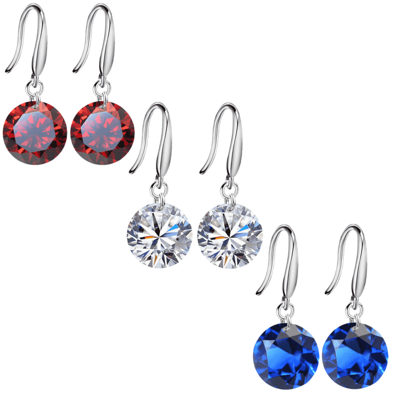 ON SALE - Patriotic Set of 3 Naked IOBI Crystals Drill Earrings - 10mm