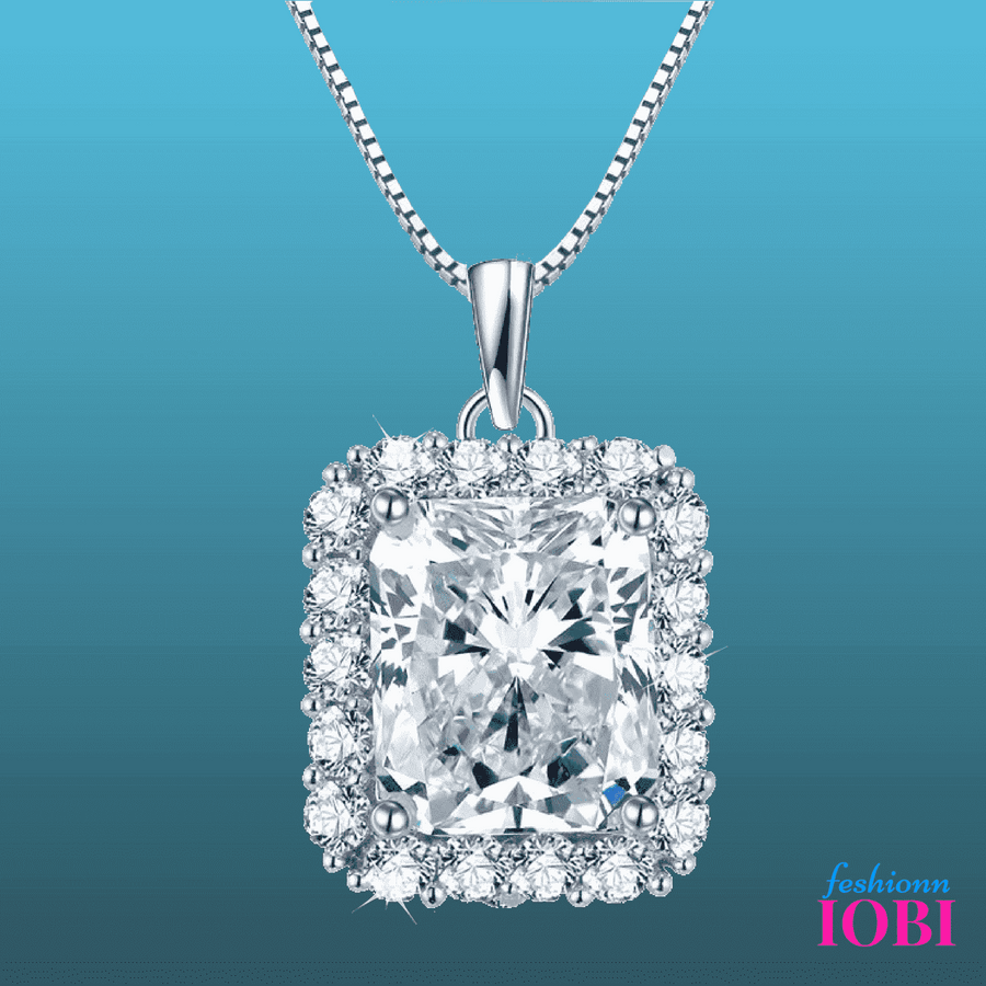 ON SALE - Vivienne 5CT Emerald Cut Halo IOBI Simulated Diamond Pendant