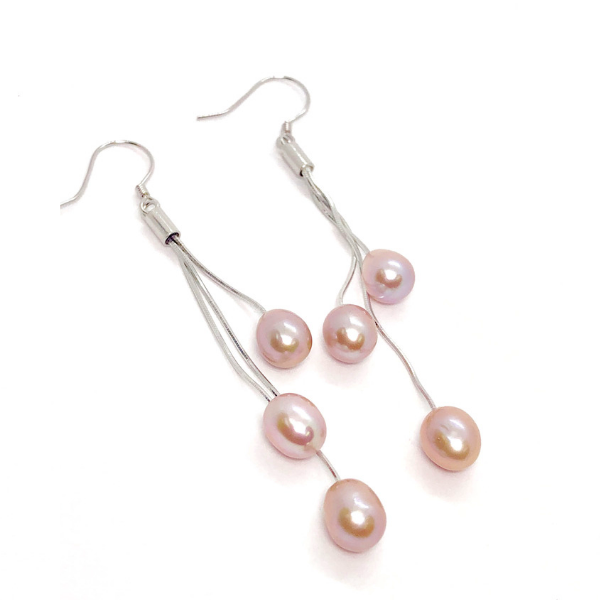 ON SALE - Peach Triple Freshwater Pearl Sterling Silver Tassel Earrings