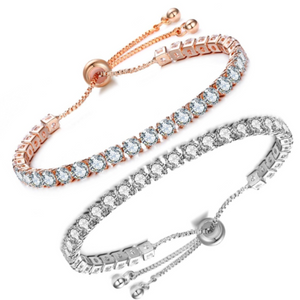 Luxurious Lariat Adjustable Swiss CZ Tennis Bracelet For Woman