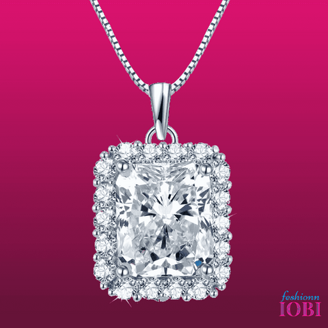 Vivienne 5CT Emerald Cut Halo IOBI Cultured Diamond Pendant